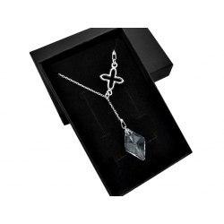 Srebrny naszyjnik Y z kryształem