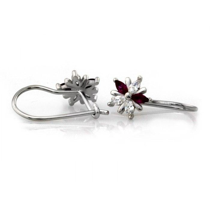 Srebrne 925 kolczyki rubinowe kwiaty