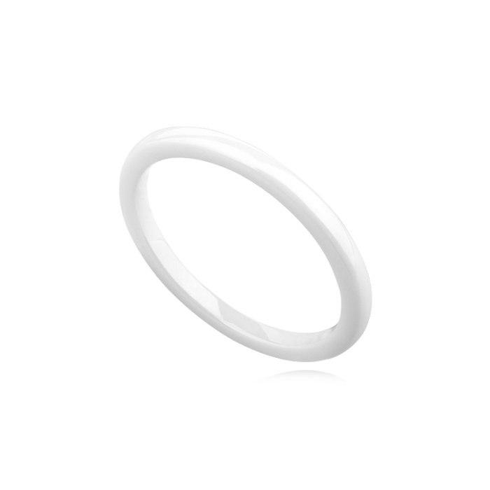 Biała ceramiczna obrączka 2mm