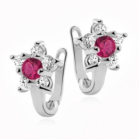 Srebrne dziecięce kolczyki rubinowe kwiatuszki