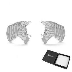 Srebrne 925 kolczyki zebra + pudełko