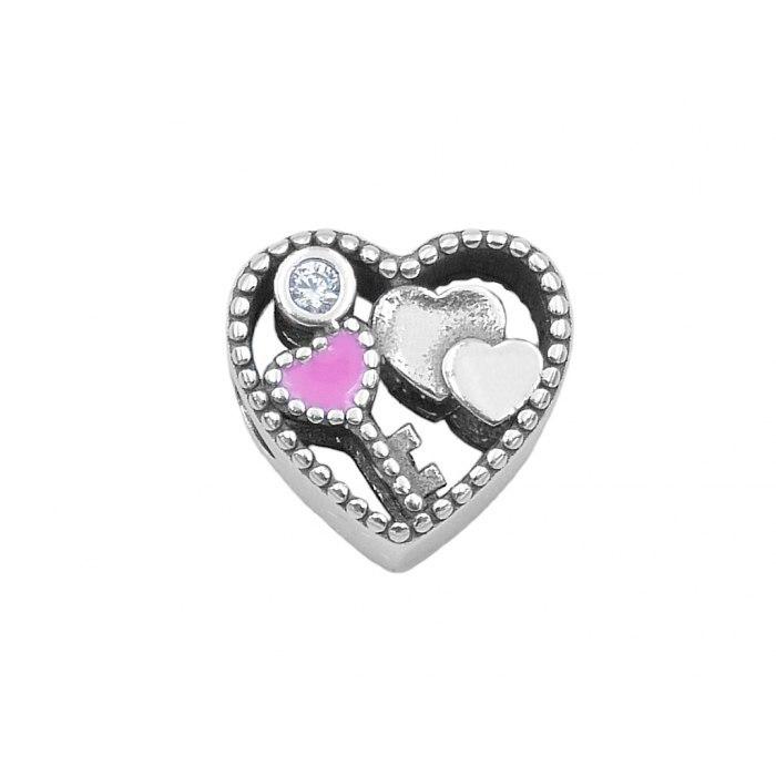 Srebrny koralik modułowy Beads serce klucz