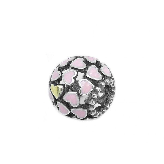 Srebrny koralik modułowy Beads serca różowe