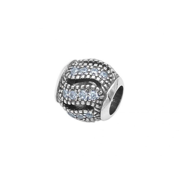 Srebrny koralik modułowy Beads cyrkonie