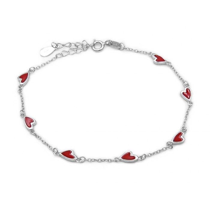 Srebrna bransoletka czerwone serca serce