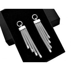 Długie srebrne kolczyki sznurki + pudełko