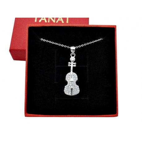 Srebrny naszyjnik wiolonczela cyrkonie + pudełko