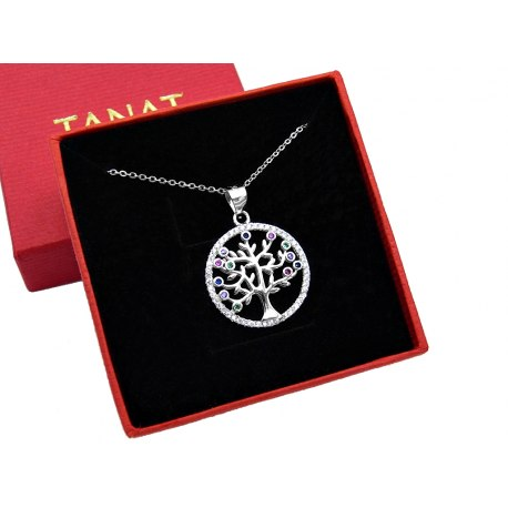 Srebrny naszyjnik drzewo życia cyrkonie + pudełko