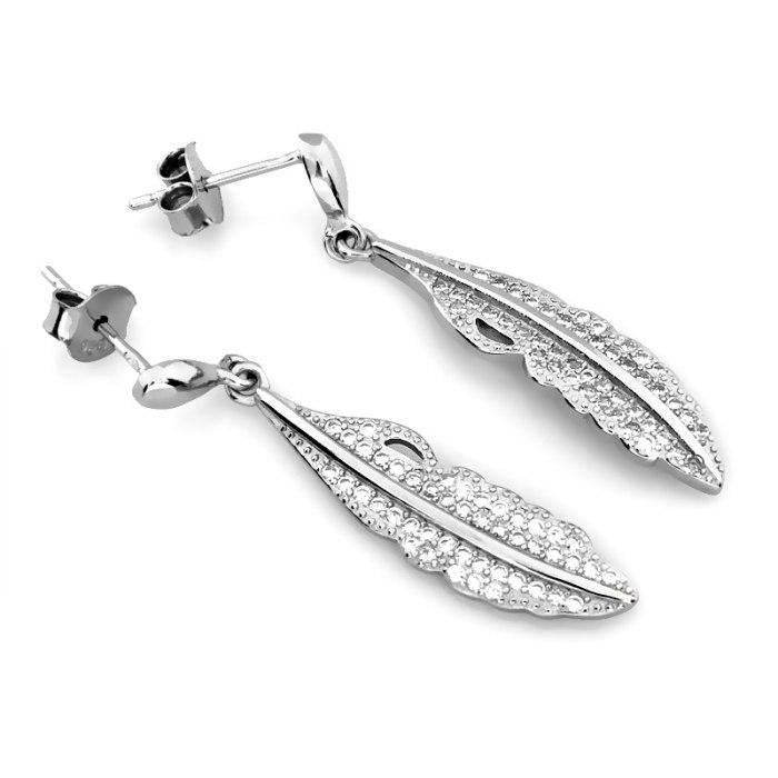 Długie srebrne kolczyki pióra z cyrkoniami