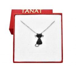 Srebrny naszyjnik czarny kot cyrkonie + pudełko