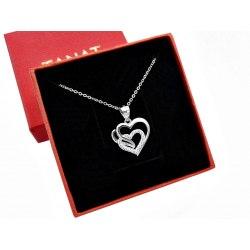 Srebrny naszyjnik 45 cm serce z cyrkoniami 1