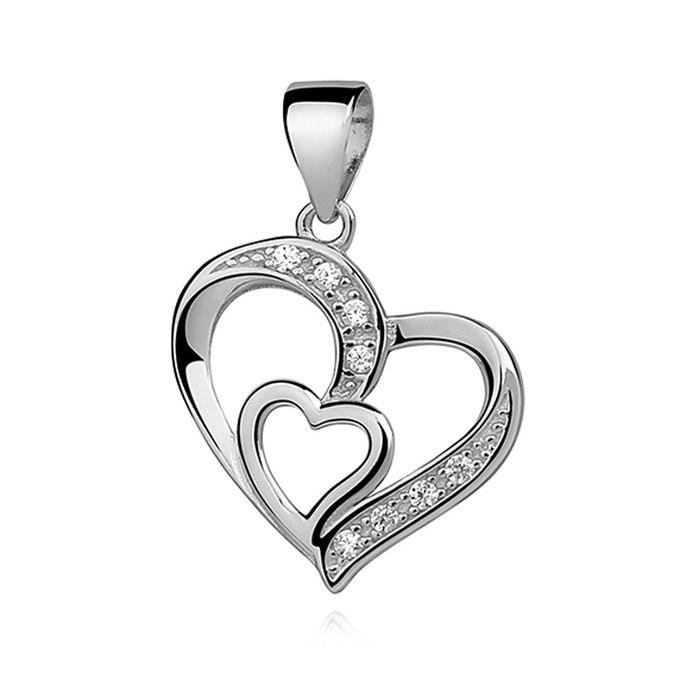 Srebrny naszyjnik 45 cm serce z cyrkoniami 3