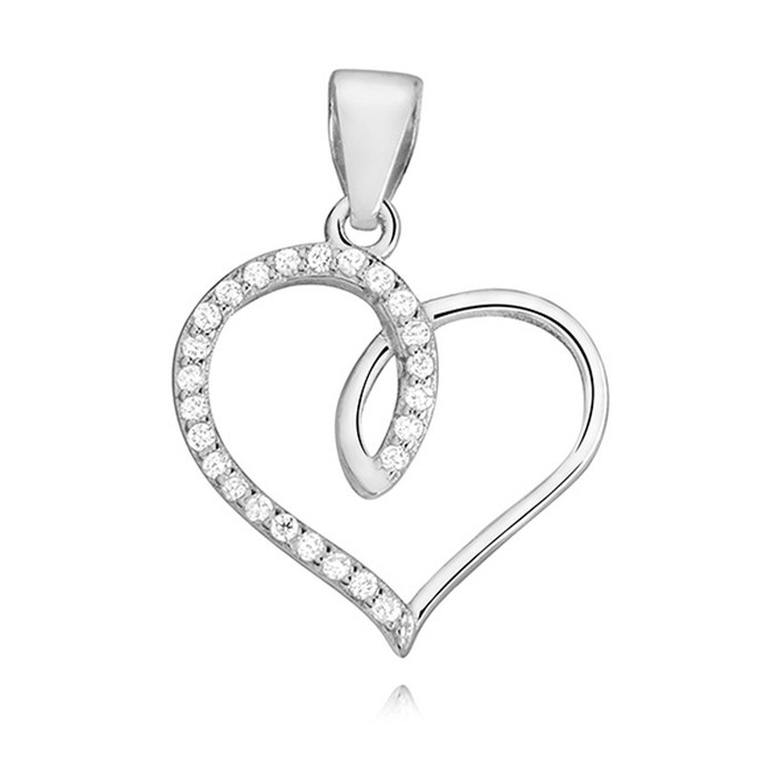 Srebrny naszyjnik 45 cm serce z cyrkoniami 4