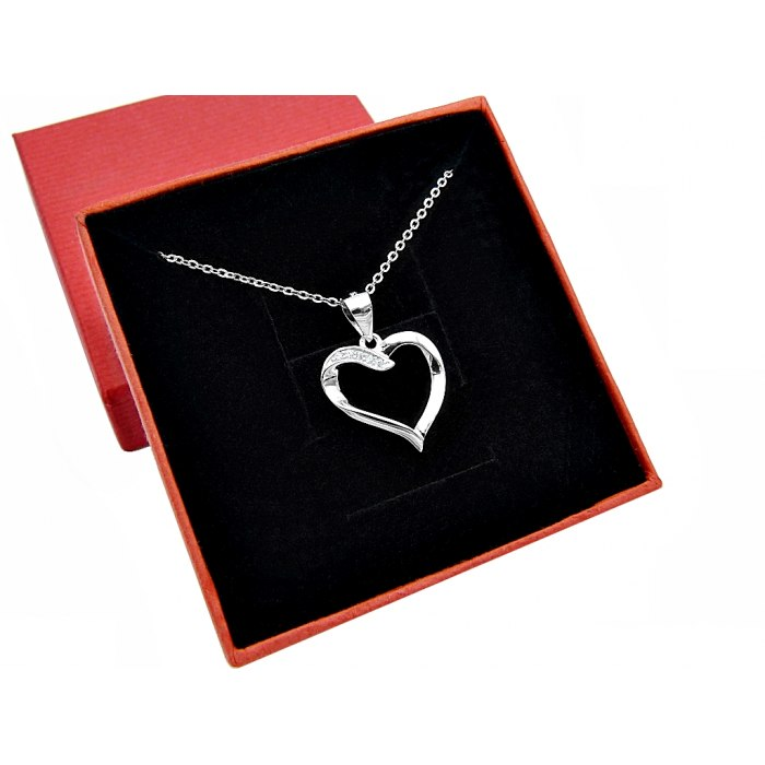 Srebrny naszyjnik 45 cm serce z cyrkoniami 5