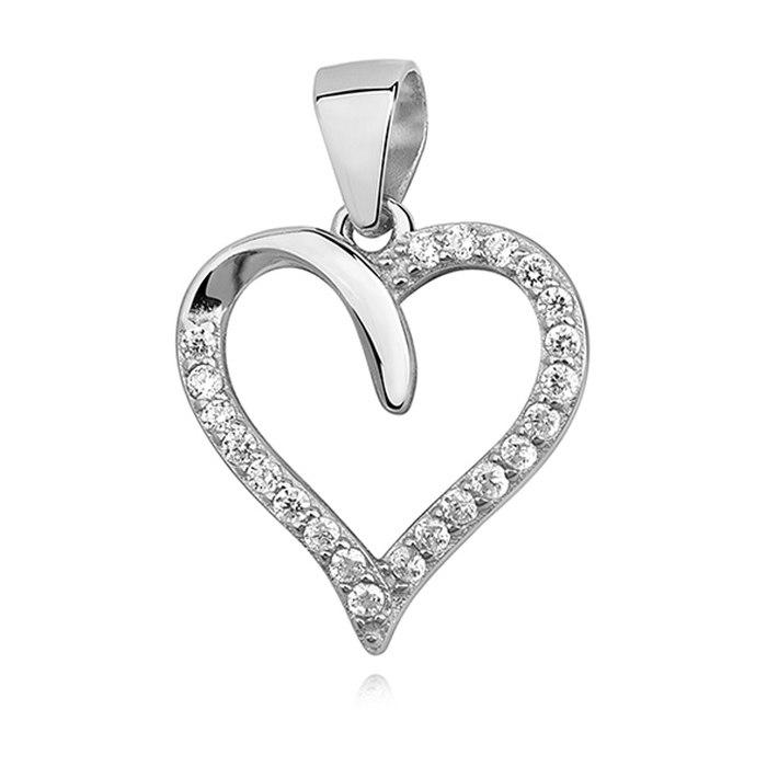 Srebrny naszyjnik 45 cm serce z cyrkoniami 6
