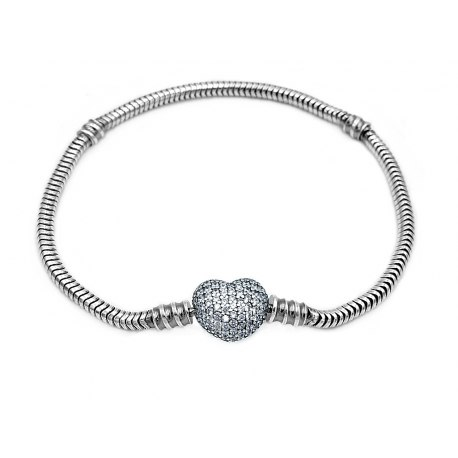 Srebrna bransoletka baza do koralików beads serce