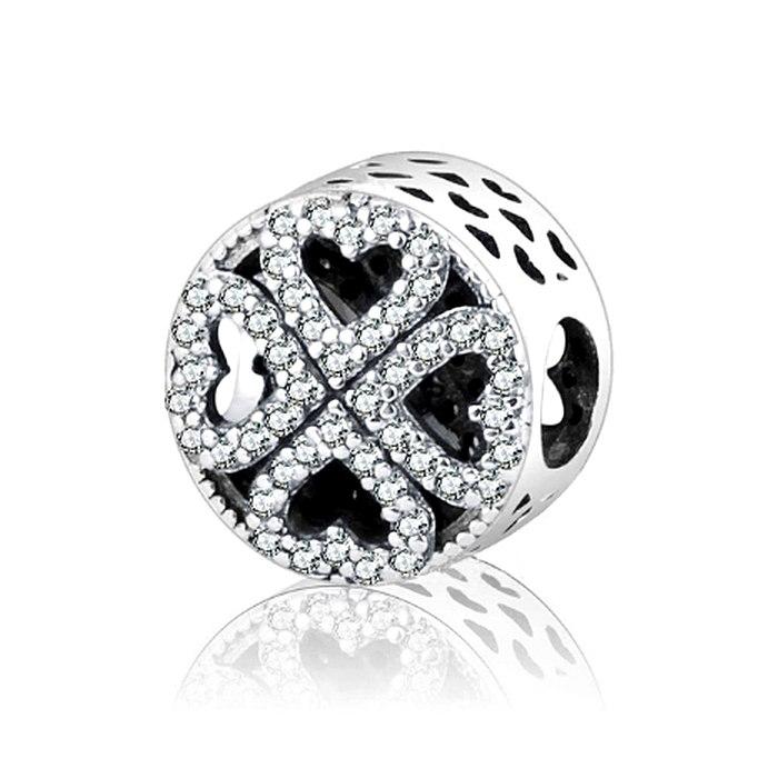 Srebrny koralik modułowy koniczynka serce Beads