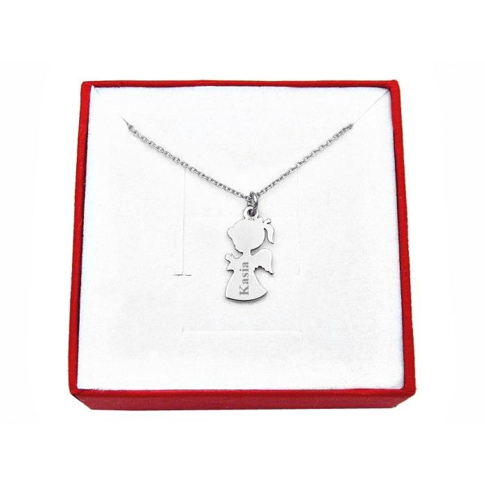 Srebrny naszyjnik dziewczynka aniołek, grawer + pudełko