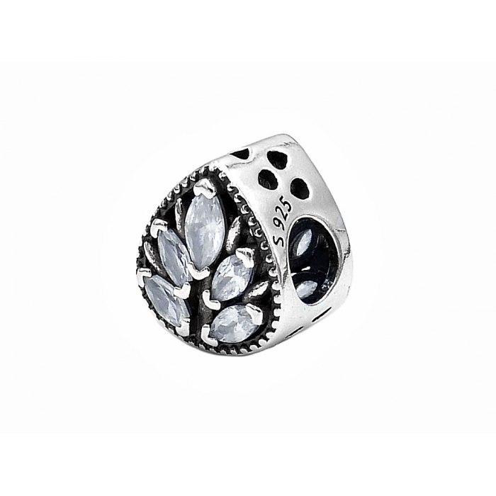 Srebrny koralik modułowy Beads kropelka cyrkonie