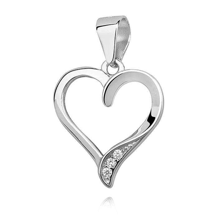 Srebrny naszyjnik 45 cm serce z cyrkoniami 7
