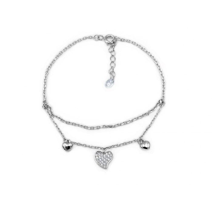 Srebrna podwójna bransoletka serca