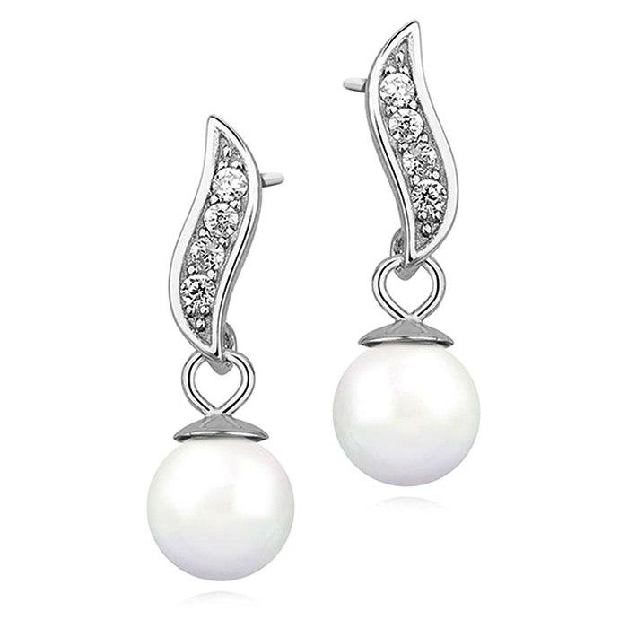 Srebrne kolczyki wkręty cyrkonia perła