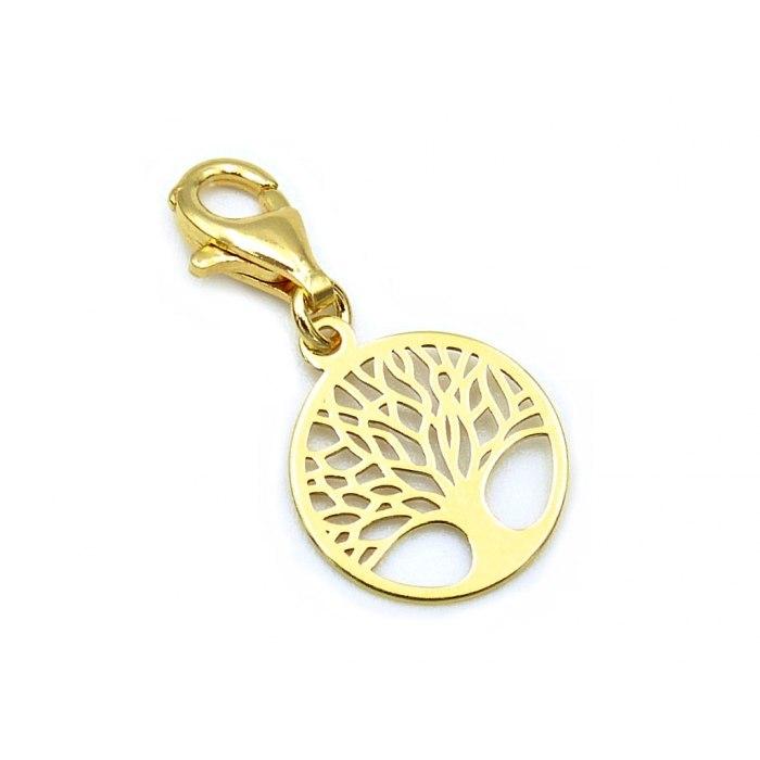 Pozłacany charms zawieszka ażurowe drzewo