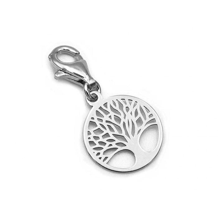 Srebrny charms zawieszka ażurowe drzewo