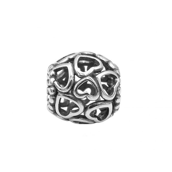 Srebrny okrągły beads serca
