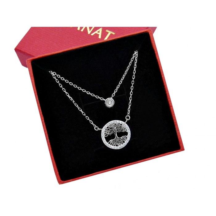 Srebrny podwójny naszyjnik drzewo cyrkonia + pudełko