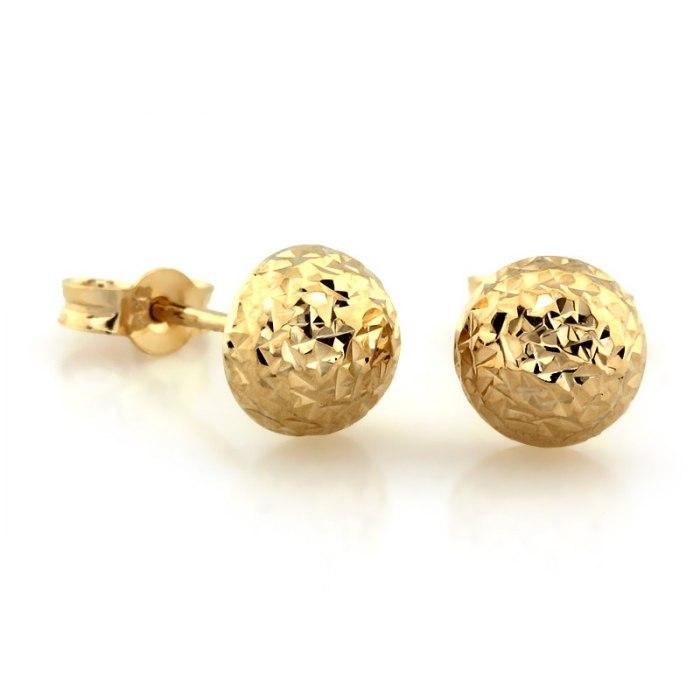 Złote kolczyki połówki kule kuleczki kulki 6 mm