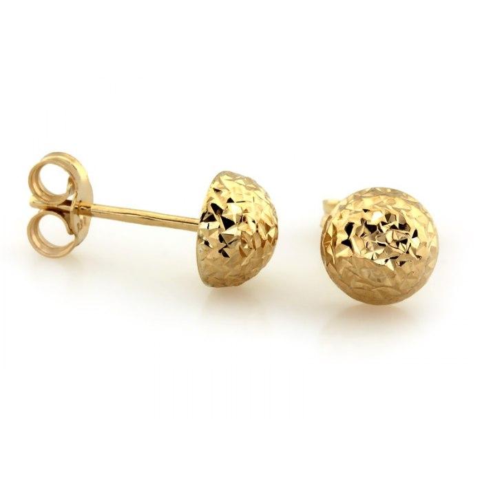 Złote 333 kolczyki połówki kule kulki 6 mm