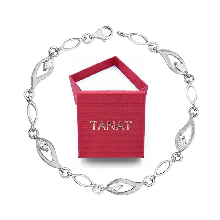 Ślubna srebrna bransoletka z cyrkoniami