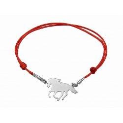 Czerwona sznurkowa bransoletka koń ogier