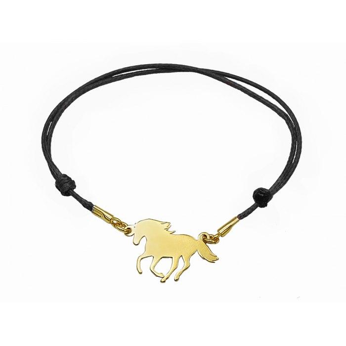 PZ Czarna sznurkowa bransoletka koń ogier