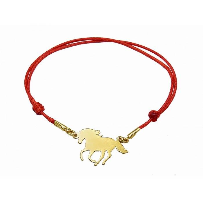 PZ Czerwona sznurkowa bransoletka koń ogier