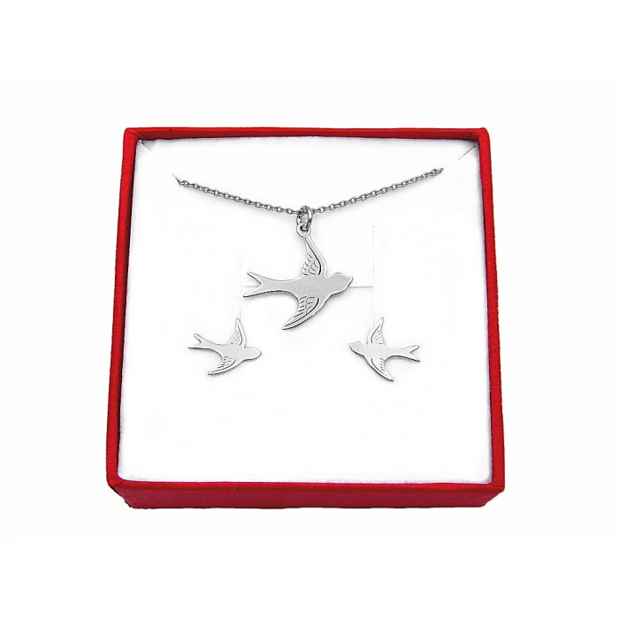 Srebrny komplet ptaki jaskółki + pudełko
