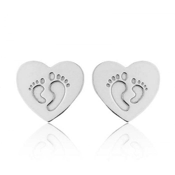 Srebrny komplet serce stopy + pudełko