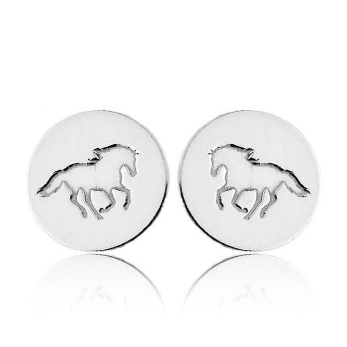 Srebrne kolczyki konie koń