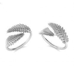 Srebrny pierścionek knuckle ring galązki liście