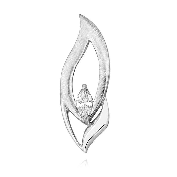 Srebrny wisiorek z cyrkonią mat