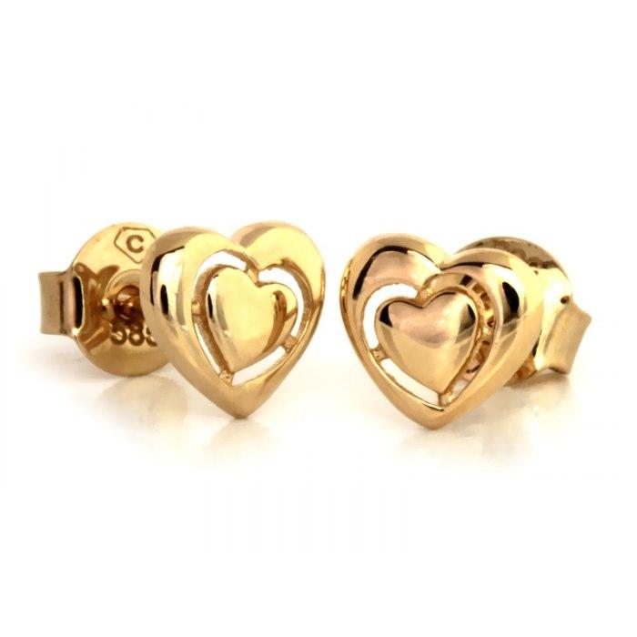 Złote 585 kolczyki serce z cyrkonie