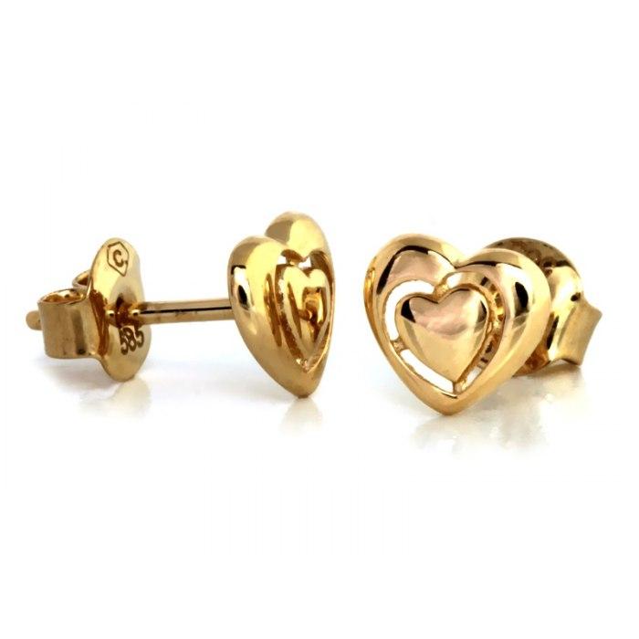 Złote 585 kolczyki serca serduszka