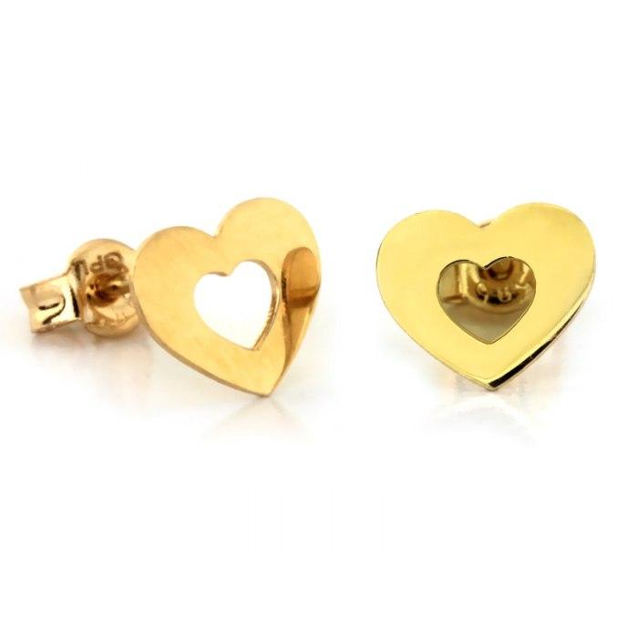 Złote 585 kolczyki obrys serca serduszka