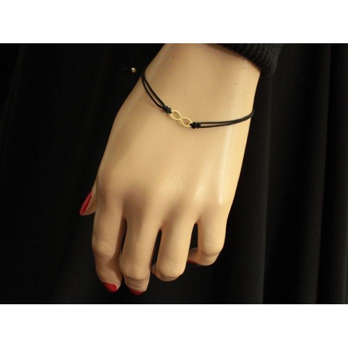 Złota 585 czarna bransoletka znak nieskończoności + pudełko