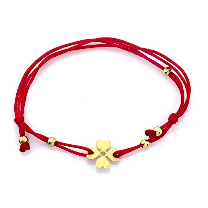 Złota 585 czerwona bransoletka czterolistna koniczyna