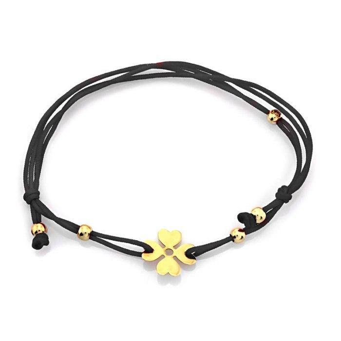 Złota 585 czarna bransoletka czterolistna koniczyna