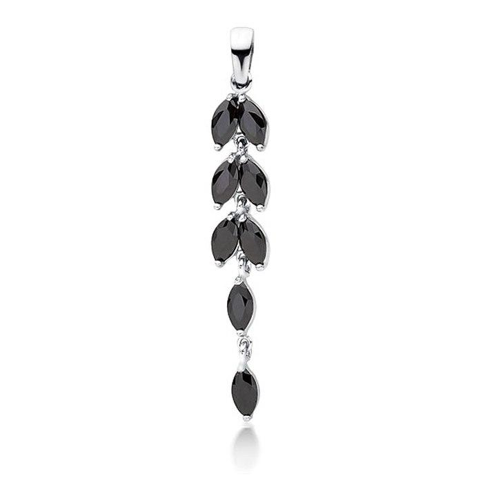 Długi srebrny wisiorek z czarnymi cyrkoniami