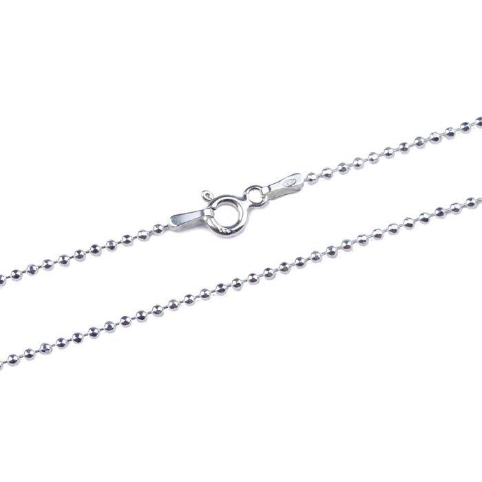 Srebrny łańcuszek 60cm - kulki 1,5mm