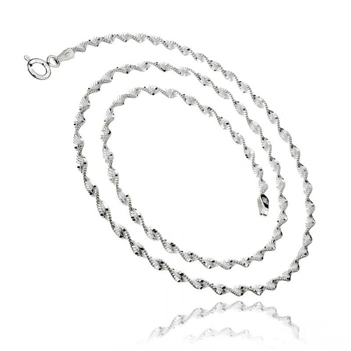 Srebrny łańcuszek 50cm twister